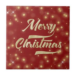 Merry Christmas Glitter Bokeh Gold Red Ceramic Tile