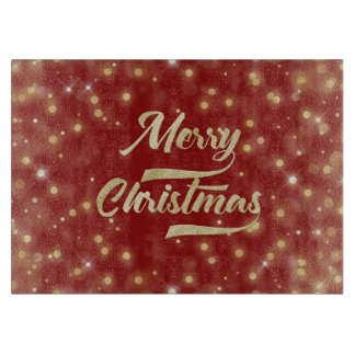 Merry Christmas Glitter Bokeh Gold Red Cutting Board