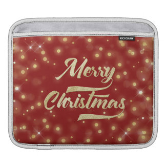 Merry Christmas Glitter Bokeh Gold Red iPad Sleeve