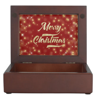 Merry Christmas Glitter Bokeh Gold Red Keepsake Box