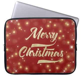 Merry Christmas Glitter Bokeh Gold Red Laptop Sleeve