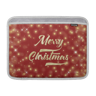 Merry Christmas Glitter Bokeh Gold Red MacBook Sleeve