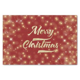 Merry Christmas Glitter Bokeh Gold Red Tissue Paper