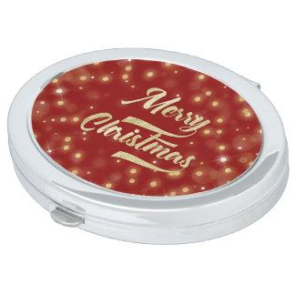Merry Christmas Glitter Bokeh Gold Red Vanity Mirrors