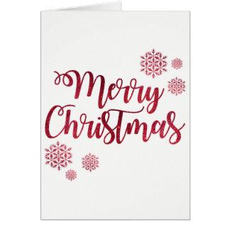 Merry Christmas Glitter Snowflake Greeting Card