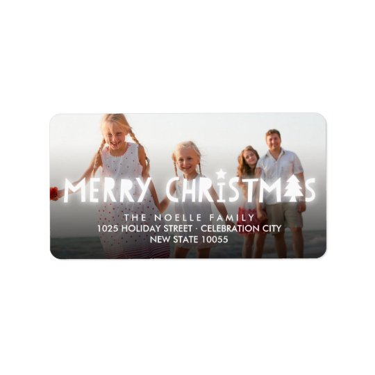 Merry Christmas Glow Holiday Photo Address Labels