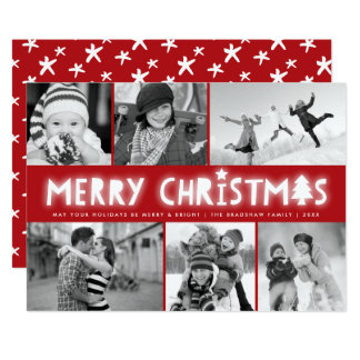 Merry Christmas Glow Holiday Photo Collage Card 13 Cm X 18 Cm Invitation Card