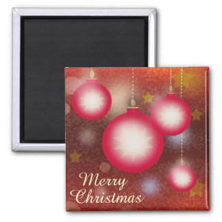 Merry Christmas Glowing Ornaments Square Magnet