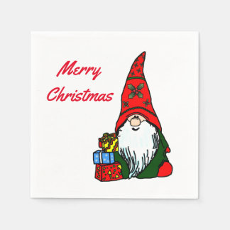 Merry Christmas Gnome with Presents Paper Napkin