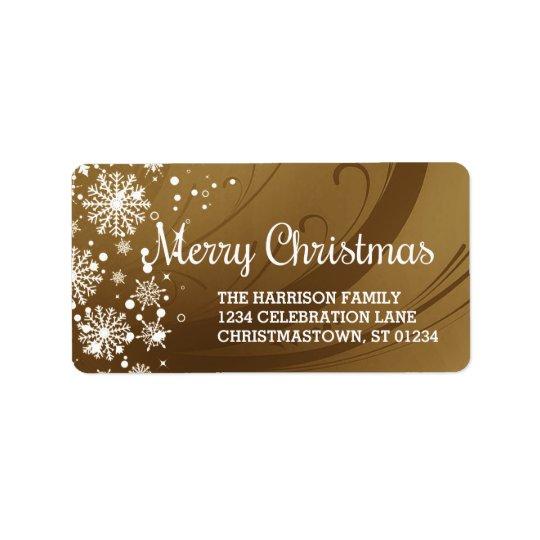 Merry Christmas (gold) Address Label