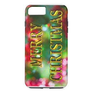 Merry Christmas Gold Bokeh iPhone 7 Plus Case