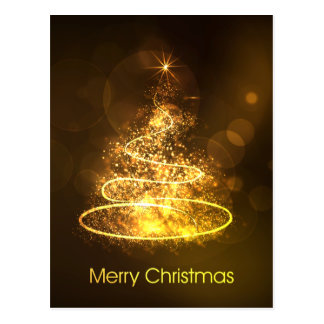 Merry Christmas Gold Christmas Tree Postcard