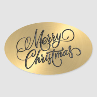 Merry Christmas Gold  Embossed Look Oval Sticker