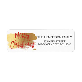 Merry Christmas Gold Foil and Red Christmas Script Return Address Label