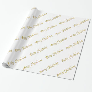 Merry Christmas Gold Foil and White Typography Wrapping Paper