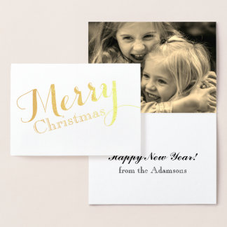 Merry Christmas gold foil card with photo