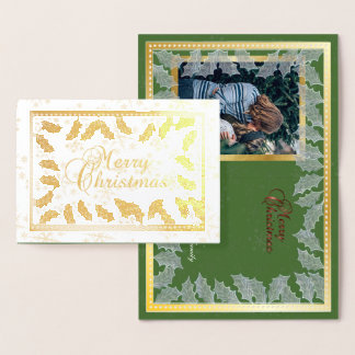 Merry Christmas Gold Foil Holly Leaves & Photo Foil Card