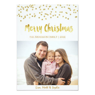 Merry Christmas gold glitter Christmas Card