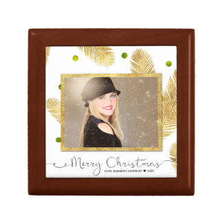 Merry Christmas Gold Glitter Photo - Tile Gift Box