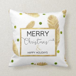 Merry Christmas Gold Glitter Script - Pillow