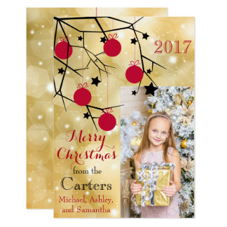 Merry Christmas Gold Glitter Twig Photo Card