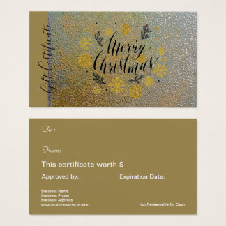Merry Christmas Gold Holiday Gift Card Certificate