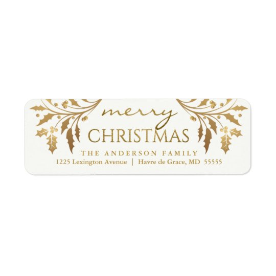 Merry Christmas Gold Holiday Holly Return Address Return Address Label