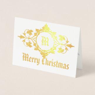 Merry Christmas Gold Monogram in Filigree Frame Foil Card