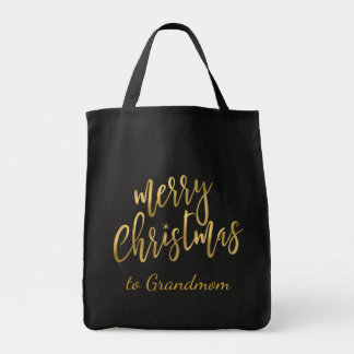 Merry Christmas Gold on Black Gift Bag - To & From