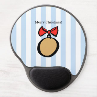 Merry Christmas Gold Ornament Gel Mouse Pad Blue