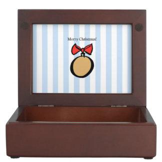 Merry Christmas Gold Ornament Keepsake Box Blue