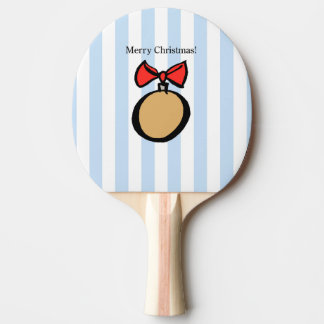 Merry Christmas Gold Ornament Ping Pong Paddle Blu