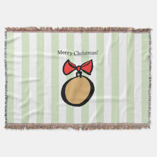 Merry Christmas Gold Ornament Throw Blanket Green