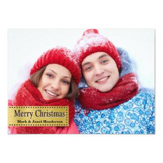 Merry Christmas Gold Photo Card 13 Cm X 18 Cm Invitation Card