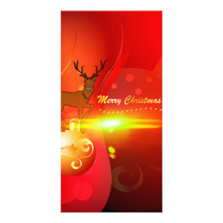Merry Christmas, gold, red elegant background Photo Cards