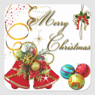Merry Christmas  Gold Red Xmas Party Square Sticker