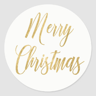Merry Christmas Gold Simple Elegant Classic Round Sticker