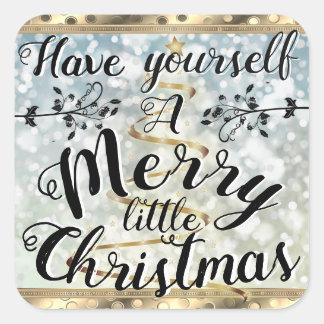 Merry Christmas Gold & snow Sticker sheet