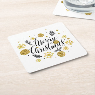 Merry Christmas Gold Snowflakes Holiday Square Paper Coaster