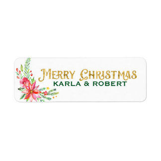 Merry Christmas Gold Typography and Floral Bouquet Return Address Label
