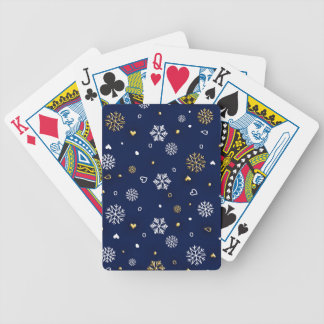 Merry Christmas Gold & White Snowflakes Elegant Bicycle Playing Cards