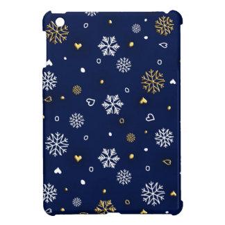 Merry Christmas Gold & White Snowflakes Elegant iPad Mini Covers