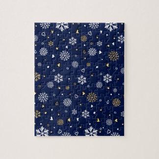 Merry Christmas Gold & White Snowflakes Elegant Jigsaw Puzzle