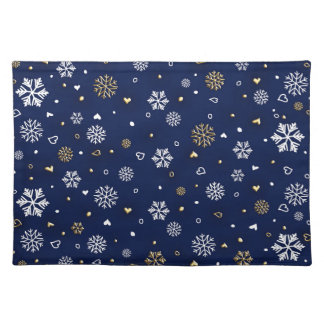 Merry Christmas Gold & White Snowflakes Elegant Placemat