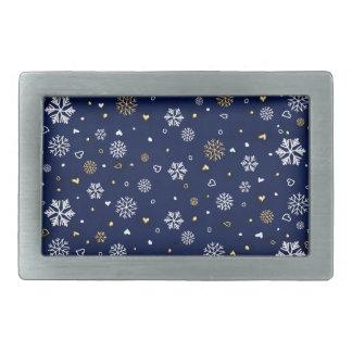 Merry Christmas Gold & White Snowflakes Elegant Rectangular Belt Buckle