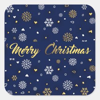 Merry Christmas Gold & White Snowflakes Elegant Square Sticker