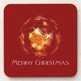 Merry Christmas golden ball illustration Drink Coaster