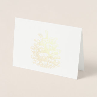 Merry Christmas golden Pine Cone Foil Card