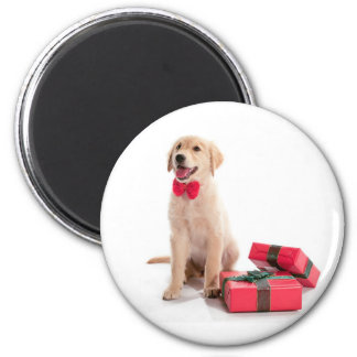 Merry Christmas Golden Retriever Puppy 6 Cm Round Magnet