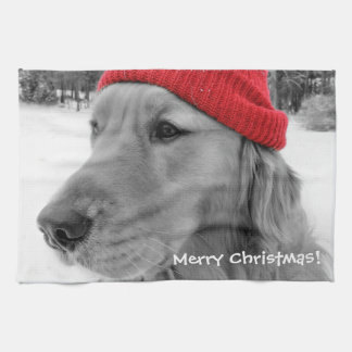 Merry Christmas Golden Retriever Tea Towel